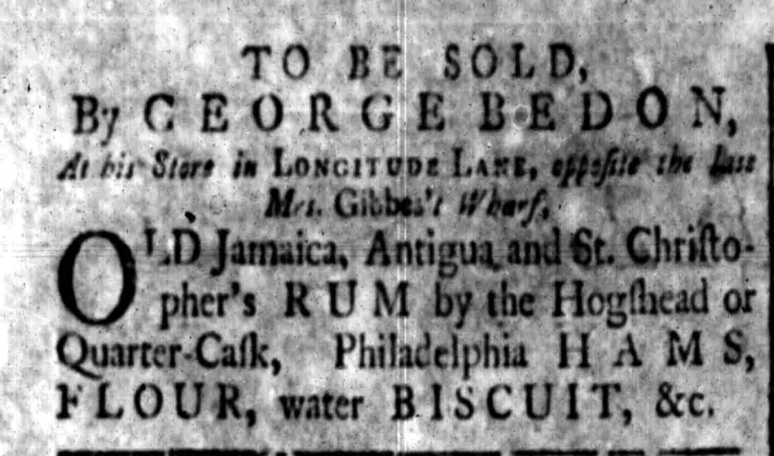 "The first (?) use of the name ""Longitude Lane,"" in the South-Carolina Gazette, 15-22 May 1762."