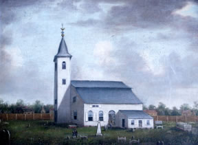 A ca. 1800 painting of the first St. John's Church, Charleston
