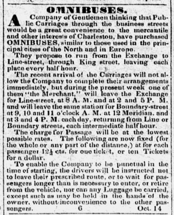 Introducing the Omnibus, in the Charleston Southern Patriot, 14 October 1833