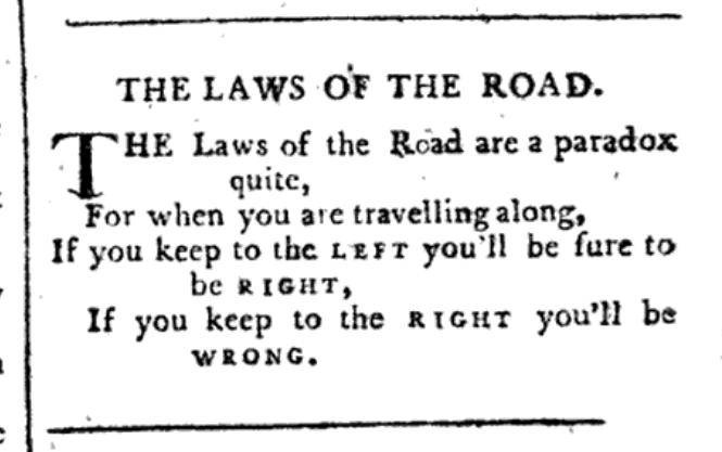 """""""The Road Paradox,"""" from Sporting Magazine, September 1793."""