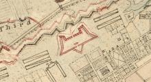 A close up of the 1780 map of the Horn Work in Charleston.
