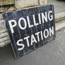 Polling station sign - voter registration