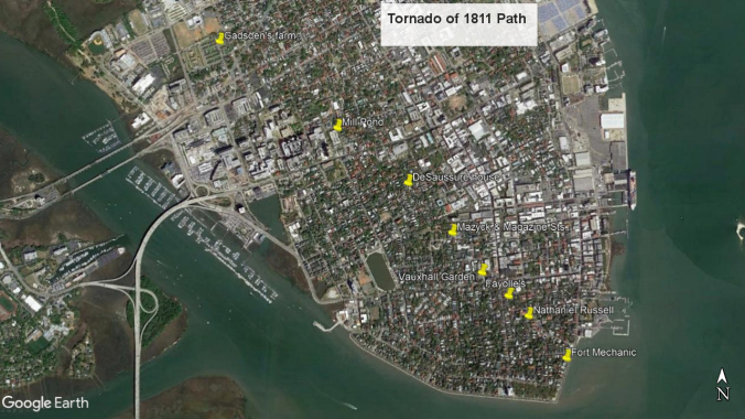 A map of the path of the tornado of 1811, with landmarks mentioned in newspaper accounts.